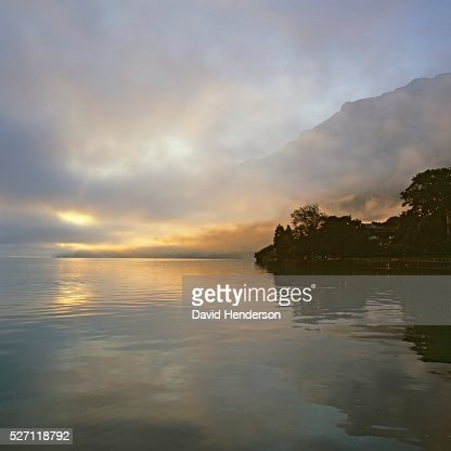 Colorful misty dawn on lake : Stock-Foto