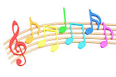 Colorful Music Notes, 3D rendering isolated on white background