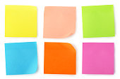 collection of six colorful blank notes on white