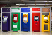 Colorful of ATM machine bank for customer withdrawal currency