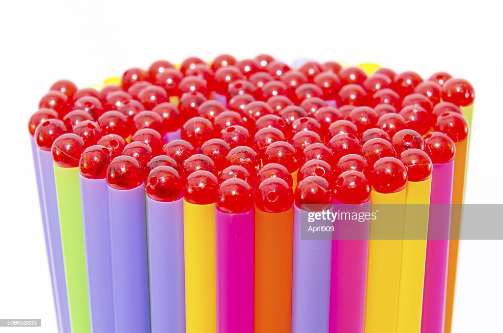 colorful of drinking straw background with beads : Stock Photo