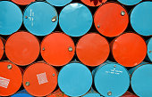 colorful of old oil tanks after uesd at outdoor junk place photo in sun lighting.