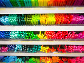 colorful of the pen on the shelf at stationary store