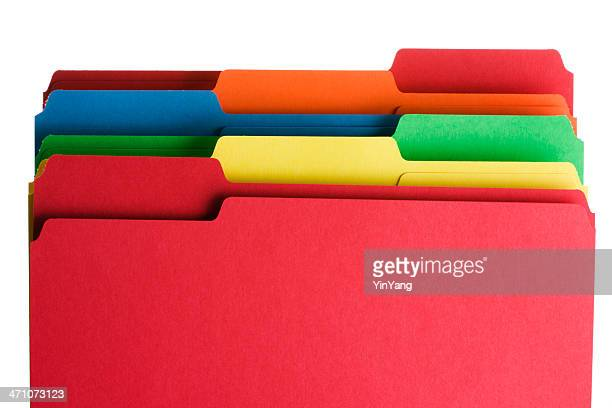 Colorful Office Supply File Organization of Paperwork on White Background