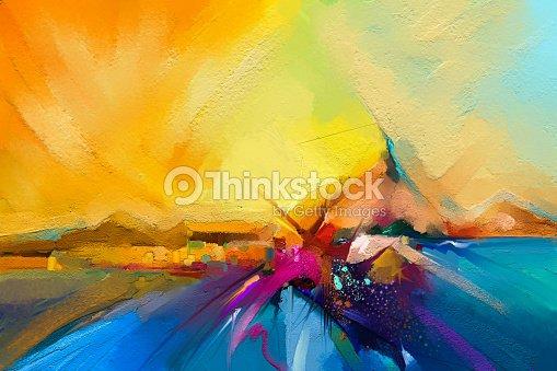 Colorful oil painting on canvas texture. : Foto de stock