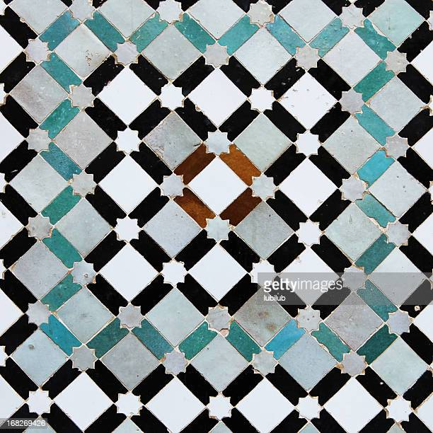 Colorful old tiles from Meknes medina in Morocco