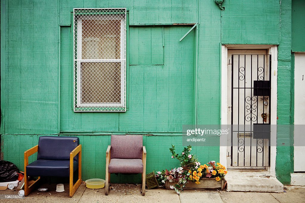 Colorful Outside of Inner City House : Stock Photo