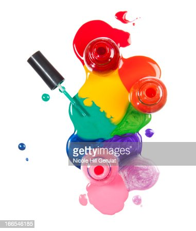 Colorful paint patches on white background