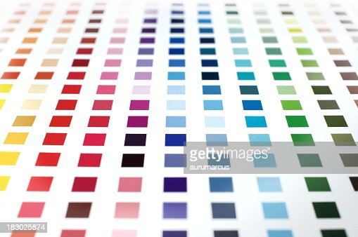 Colorful paint swatches in squares on a white background