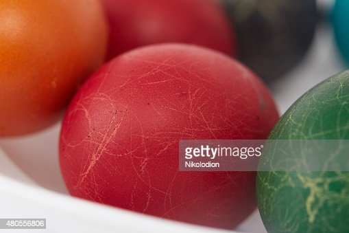 colorful painted Easter eggs on a white background : Stock Photo