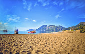 Colorful panoramic view  Olympos Beach, Cirali, Turkey