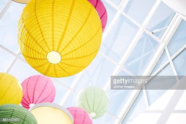 Colorful paper lanterns, low angle view
