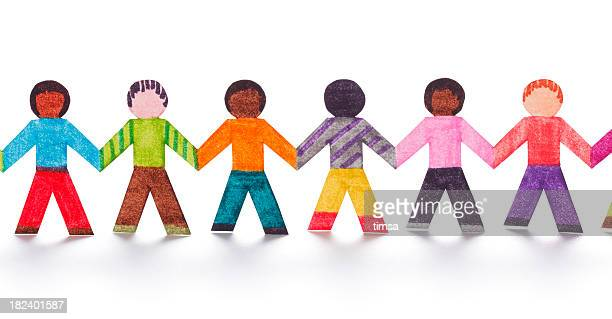 Colorful paper people in a line