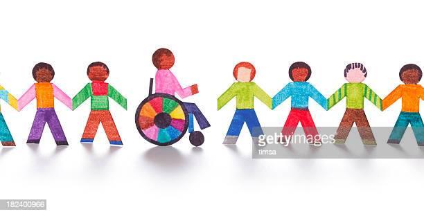 Colorato carta persone con sedia a rotelle