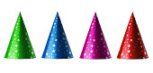 Set of party hats isolated on white background with clipping path for each one