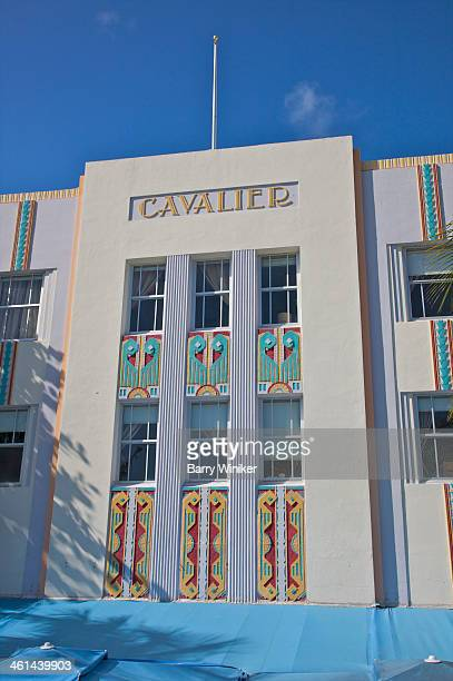 Colorful patterns on Art Deco facade
