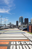 Colorful pavement in Viaduct Harbour, Auckland, New Zealand
