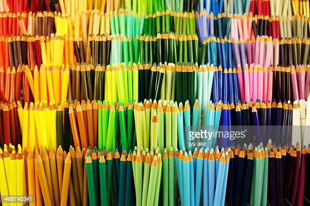 colorful pencils on display