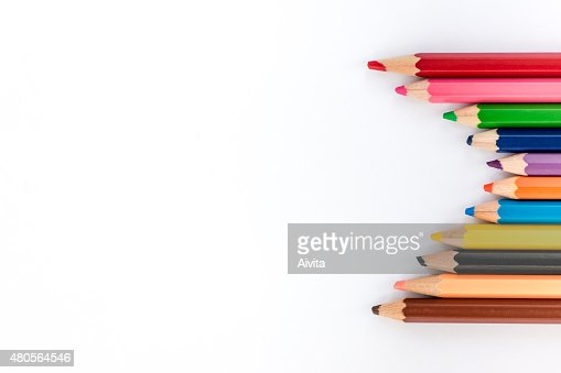 Colorful pencils on white background. Back to school photos. : Stock Photo