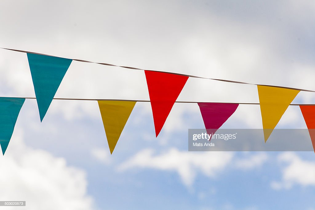 Colorful pennants blowing in the vind