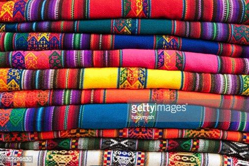 Colorful Peruvian fabrics for sale, Cuzco market, Peru