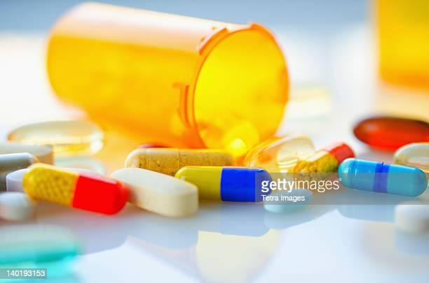 Colorful pills and capsules, studio shot