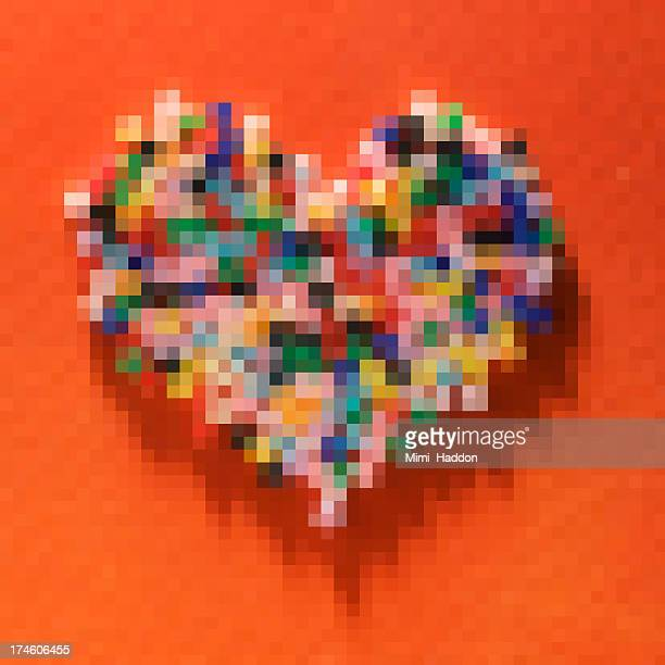 Colorful Pixelated Heart