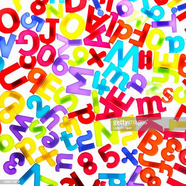Colorful plastic letters and numbers
