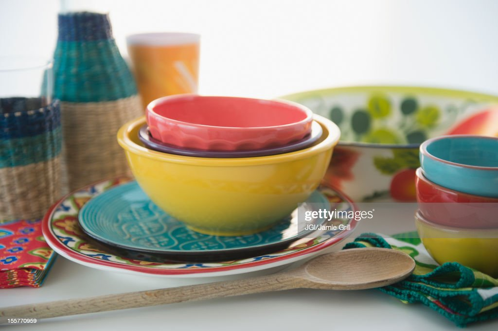 Colorful plates and bowls : Stock Photo