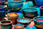 Colorful ceramic Pots for Plants and soil
