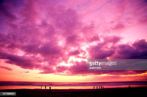 Colorful purple sunset in Kuta beach in Bali