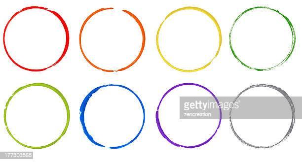 Círculo de acuarela colorido arco iris
