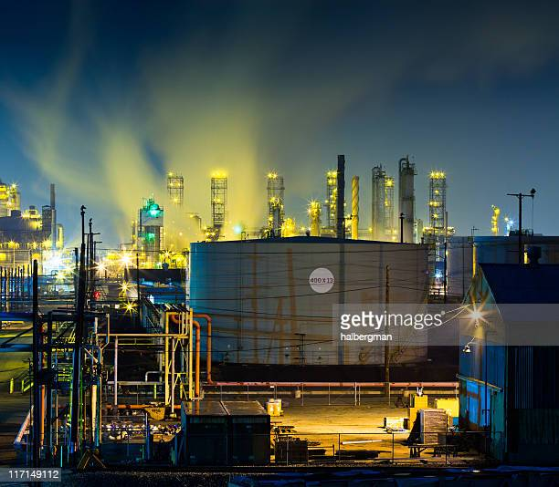Colorful Refinery Complex at Night