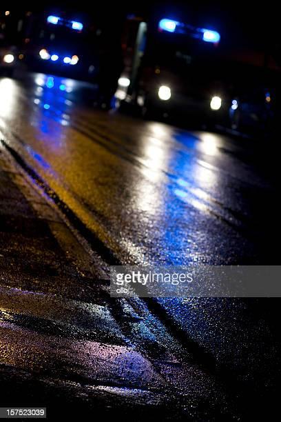 Colorful reflections on wet asphalt