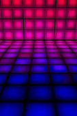 A colourful lit dance floor made up of lightboxes. The lights are gradated from blue to red.