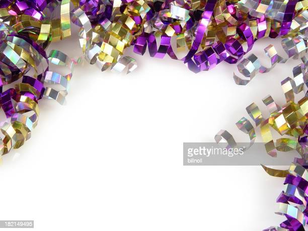 Colorful ribbons and confetti
