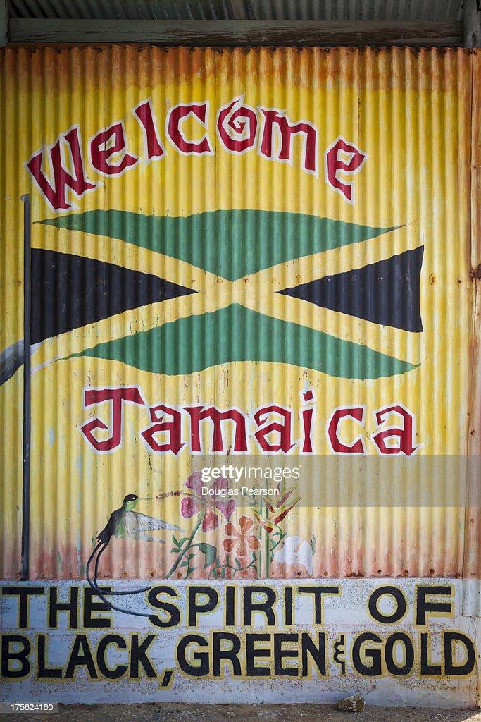 Colorful roadside mural, Jamaica