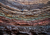 A shot of the different layers of colorful rock