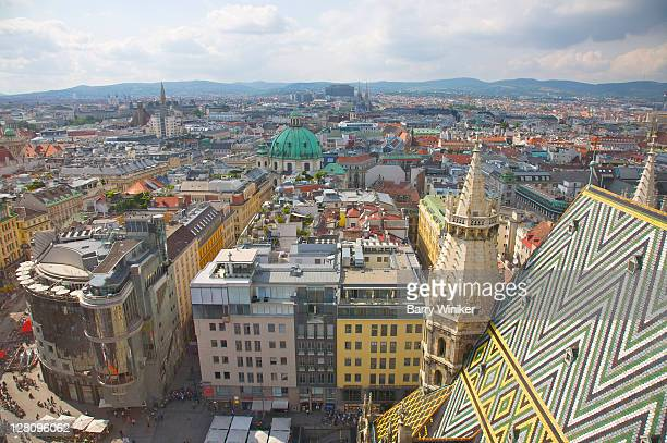 Colorful rooftops seen from top of St. Stephens Cathedral, Vienna, Austria