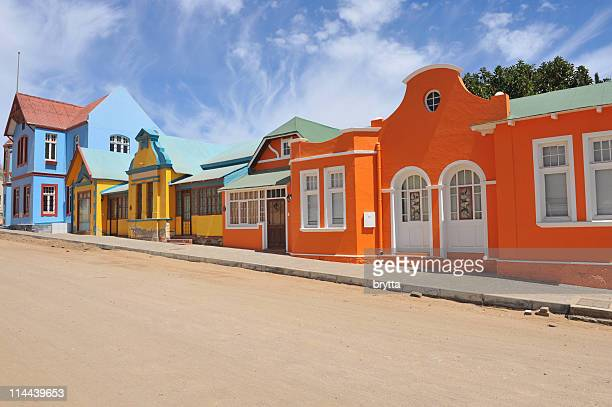 Colorful row orange,blue,yellow houses in Luderitz, Namibia