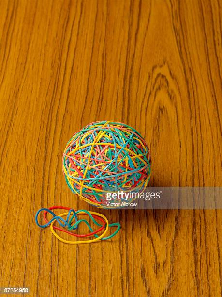 Colorful rubber bands and ball