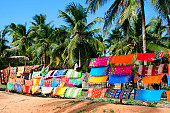 Sarongs being advertised in the Inhambane area, Mozambique. These colourful displays and informal markets or shops line the tourist roads on the way to Barra. These are sold by the local community. Th