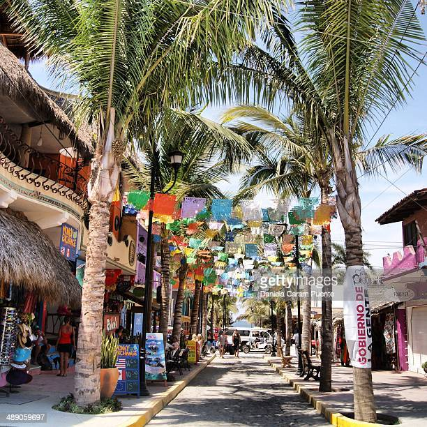 CONTENT] Colorful Sayulita PalmTrees main street