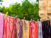 Colorful scarves in street bazaars around anatolian cities in Turkey.