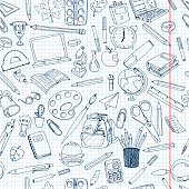 Colorful school  pattern. Seamless texture with pencils, books, chalkboard and different objects.  Doodle vector elements. Back to school background. Hand drawn sketch.
