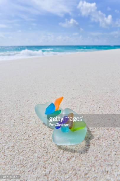 Colorful sea glass on the beach, Barbardos