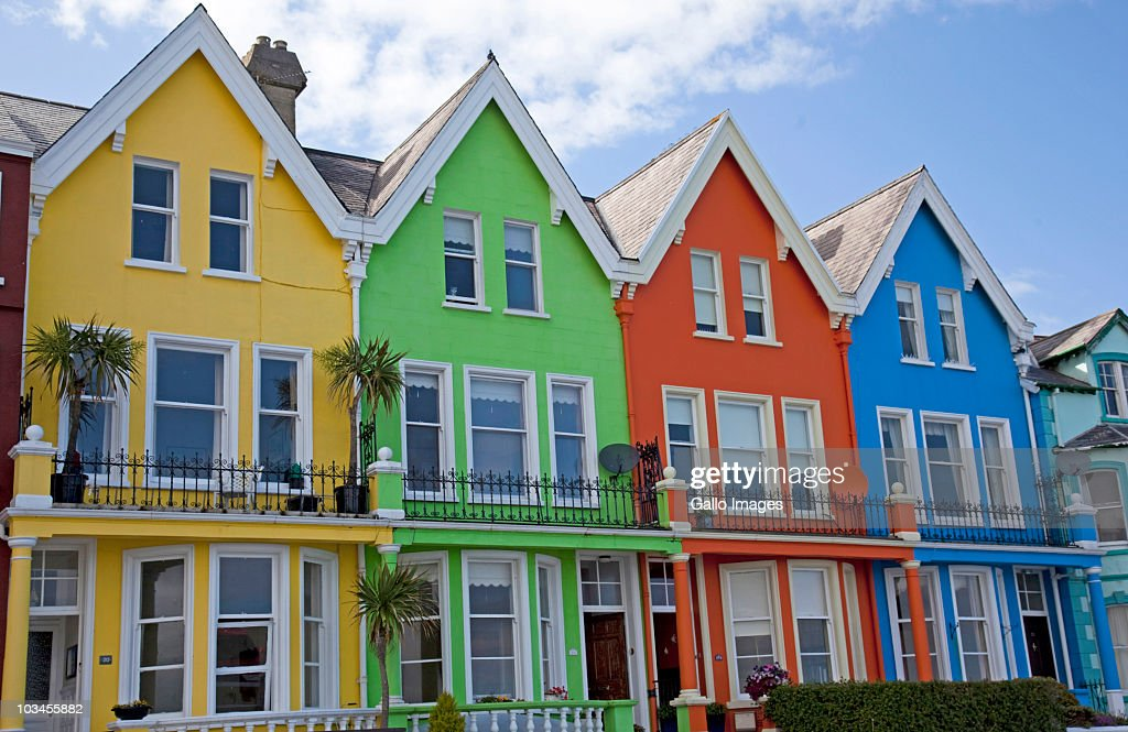 Colorful seaside houses, Whitehead, County Antrim, Northern Ireland : Stock Photo