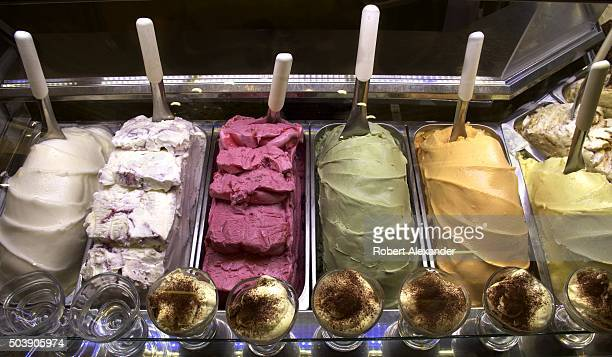 A colorful selection of gelato flavors entices customers in a gelato or ice cream shop in Florence Italy