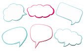 Colorful set of different speech bubble as a cloud isolated on empty white background. Copy space