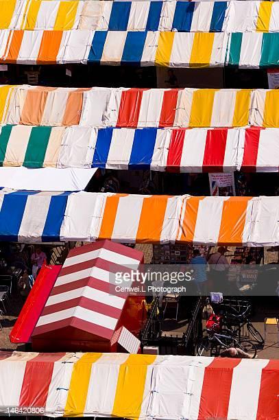 Colorful sheds in flea market